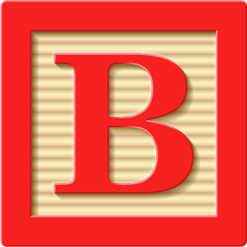 children's block with a letter B
