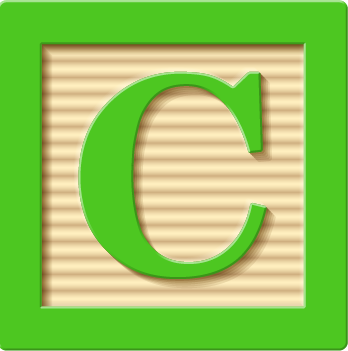 children's block with a letter C